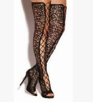 Mesh Hollow Lace Up Stiletto Peep Toe Women's Over Knee High Boots Sandals Zsell