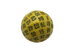 SkullSplitter Single 100 Sided Polyhedral Dice (D100)| Solid Yellow Color (45mm)