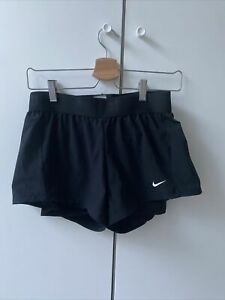 Nike Women black running shorts with attached undershorts Dri-fit Size S RRP £40