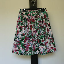 'JACQUI.E' EC SIZE '6' PLEATED GREEN, PINK & WHITE FLORAL PRINT LINED SKIRT
