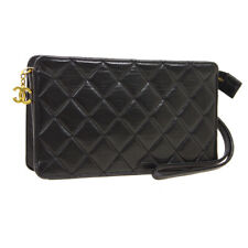 CHANEL Quilted CC Logos Clutch Hand Bag Pouch Purse Black Leather AK25767k