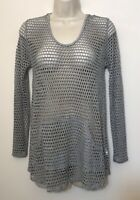 NWT Ginger G Small Pullover Top Gray Mesh Holes 3/4 Sleeve Stretch Hooded Tunic