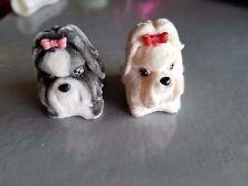 MEG JAKKS PACIFIC Puppy In My Pocket DOG FLOCKED PETS LOT shih tzu black white