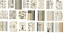 10x Random Metallic Tattoo Gold Silver Temporary Body Art Stickers 8