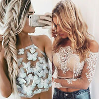 Women Summer Sexy Off Shoulder Embroidery Top Blouse Vest Shirt Tank Crop Tops