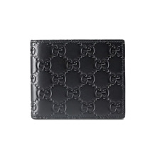 New Gucci Guccissima Black Monogram Men's Logo Signature GG Bifold Wallet