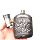 Antique Silver Flask Embossed Florals Expandable cap MERIDEN BRITANNIA 1889