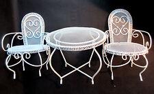 Ensemble métal laqué blanc, salon romantique pour poupée, 2 fauteuils + guéridon