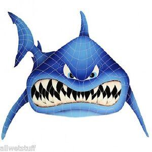 Shark In Your Face Pool Mosaic Swim Kids Wall Deco Patio Bar Table School Logo