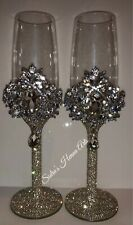 Personalised Wedding Swarovski Champagne Flute Glasses - Gold or Silver