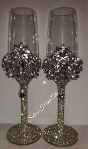 Personalised Wedding Swarovski Champagne Flute Glasses - Gold or Silver
