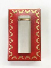 VTG Cartier Paris France Silver Tone Trinity Gold Plated Band Gas Lighter w Box