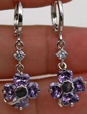 Amethyst 8MM Flower Dangle Drop Earrings 14Kt White Gold 1 Inch Drop NWOT