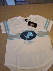 Ultra Game NFL Women's Soft Mesh Jersey Varsity Tee Shirt Detroit Lions Large
