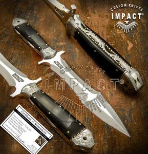 IMPACT CUTLERY RARE CUSTOM D2 FULL TANG BOOT KNIFE DAGGER DAMASCUS BOLSTERS