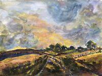 Gouache Weite Landschaft im Abendlicht Abendstimmung 40 x 30 cm