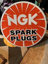 NGK spark plugs Embossed Metal Tin Advertising Sign Garage