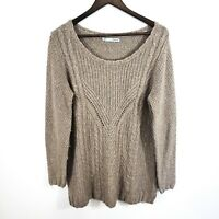 Maurices Womens Cable Knit Wool Sweater Size XL Soft Brown Slit Hem Tunic Long