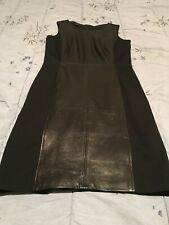 Talbots Black Leather and Ponte-Knit Dress - Size 4