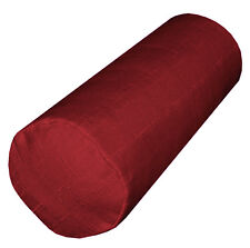Qh15g Deep Red Thick Cotton Blend Bolster Yoga Case Neck Roll Custom Size