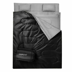 Goplus Double 2 Person Sleeping Bag Waterproof w/2 Pillows Camping Queen Size XL