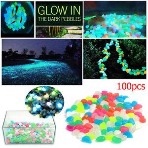 100pcs Glow In The Dark Pebbles Stones Home Garden Walkaway Aquarium Fish Tank