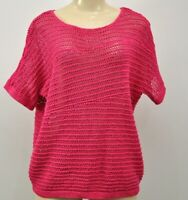 CHICO'S Size 2 Sweater Pink Open Knit Boat Neck Dolman Sleeve Women's large 12
