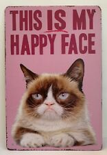 Funny Cat Quotes Sayings This Is My Happy Face Retro Metal Tin Signs Plaques