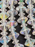 "Vintage 1950's Aurora Borealis Nice Crystal Glass Bead Flower Girl Necklace 14"""
