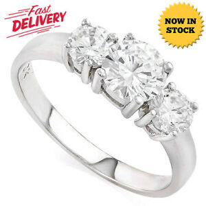 1.82 CARAT CREATED WHITE SAPPHIRE SOLITAIRE 14KT SOLID GOLD ENGAGEMENT RING