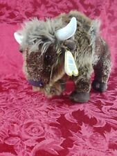 Aurora World MIYONI Plush Stuffed Animal Brown BISON BUFFALO Bull Neck Tag