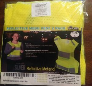 Reflective Vest for Running or Cycling Women and Men Large (Set of 2)