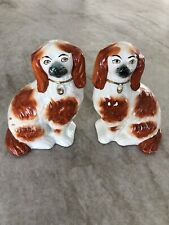 Pair Staffordshire Red & Gold Spaniel Dogs - Antique & Authentic w/ Stamps & #2