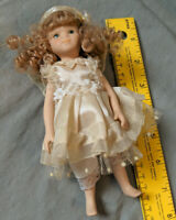 """Ganz VTG Bisque Porcelain 7"""" Angel Curly Hair Doll Xmas Wings Satin Dress"""