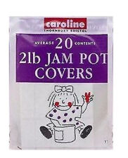 2lb JAM POT COVERS 20 Pack inc Wax Disks Clear Covers Labels & Bands Caroline