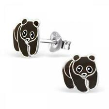 Sterling Silver Childrens Girls PANDA BEAR Stud Earrings PINK Macaroon Gift Box
