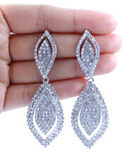 DANGLE DROP AUSTRIAN CRYSTAL RHINESTONE SILVER CHANDELIER EARRINGS WEDDING E2166