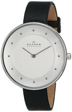 Skagen Women's Gitte Analog Quartz Stainless Steel Black Leather Watch SKW2232