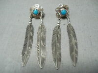 LONG VINTAGE NAVAJO TURQUOISE STERLING SILVER FEATHER EARRINGS