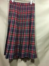 Cortland Collections 100% Wool Long Skirt Red Green Plaid Modest Size 8 VTG