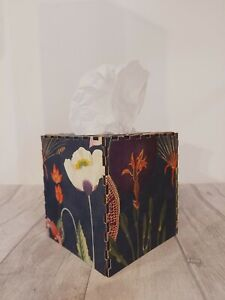 Tissue Box Cover Made W/ Floral Navy Velvet Fabric Cube Square