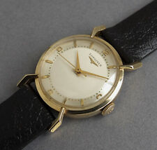 LONGINES 14K Solid Gold Gents Vintage Watch 1953  STUNNING SPYDER LUGS