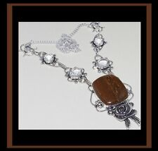 NEW - TIGER JASPER & TOPAZ WITH SILVER ROSE STATEMENT NECKLACE