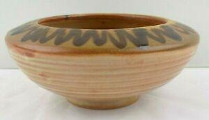 Studio Art Pottery Planter Bowl Signed Dillon Handmade Brown Swirl Arts Crafts