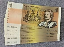 5 x $1 1982 Johnston Stone Consecutive banknotes. Last Issue - Uncirculated