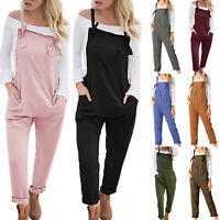 Womens Ladies Jumpsuit Romper Dungarees Harem Trousers Summer Casual Overalls US