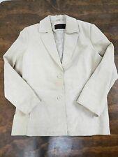 Women's Siena Suede Light Tan Blazer 100% Leather Size 14 Western Two Button