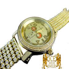 MEN'S REAL DIAMOND YELLOW GOLD TONE SOLID STEEL BACK JORODEO JOJINO CUSTOM WATCH