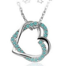 Women Valentine's Gift Double Heart Necklace Crystal Rhinestone Chain Pendant Y4