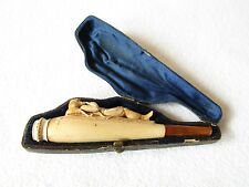 "1880s Carved Meerschaum ""Gentleman Reclining Smoking Pipe"" Cigar Holder Cased"